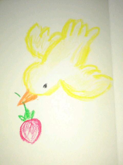母親教室お誘いカードのイラストです♪  イチゴ好きの友人に送ります♪